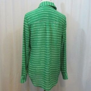 Coldwater Creek Tops - Coldwater Creek Green White Dots Semi Sheer Top XS